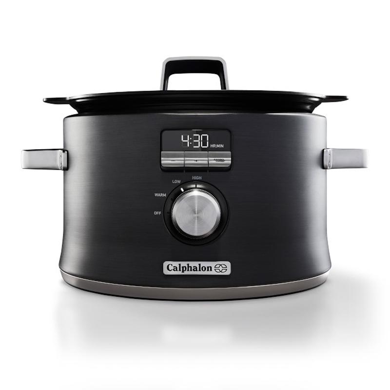 スロークッカー 直火対応 IH対応 5.0L カルファロン Calphalon Digital Saut Slow Cooker, Dark Stainless Steel SCCLD1 家電