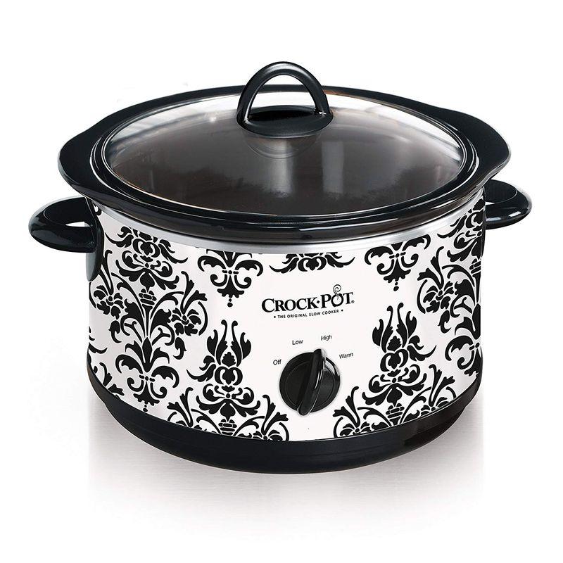 スロークッカー 4.2L クロックポット グルメ鍋 ラウンド型 丸型 Crockpot Round Slow Cooker, 4.5 quart, Black & White Pattern (SCR450-HX) 家電