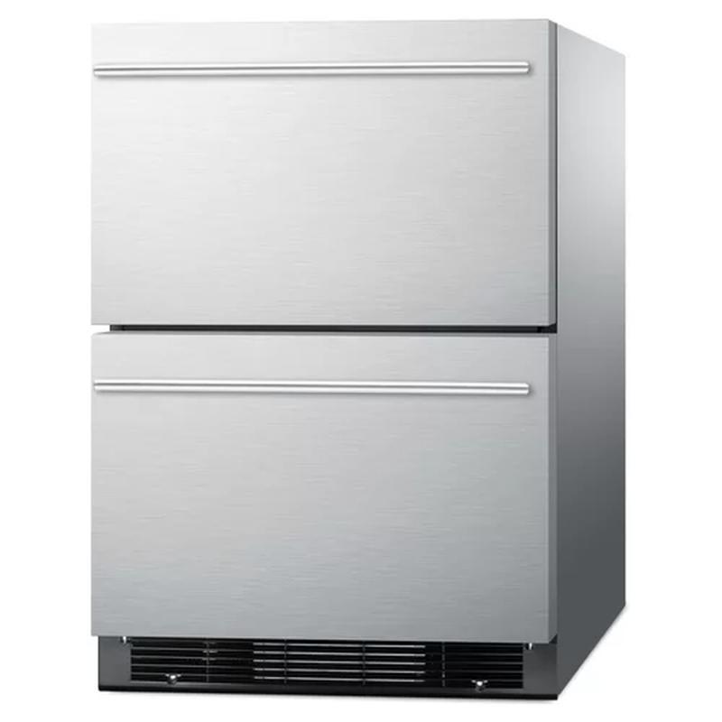 冷蔵庫 冷凍庫 2段式 引き出し ビルトイン アンダーカウンター 140L ステンレス Summit Built-In 23.75-inch 4.8 cu. ft. Drawer Refrigerator with Freezer SPRF2D5 家電【日本語説明書付】