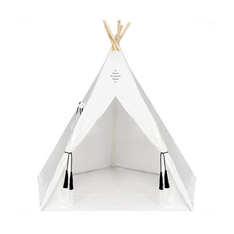 子ども用 テント 室内 屋内にも ミニ 小さい 秘密基地 インテリア 高さ1.8m Nature's Blossom Kids Teepee Tent 6 Feet Tipi with Floor, Five Poles, Window Carrying Bag. Foldable Playhouse for Indoor or Outdoor Play. Off-White, X-Large