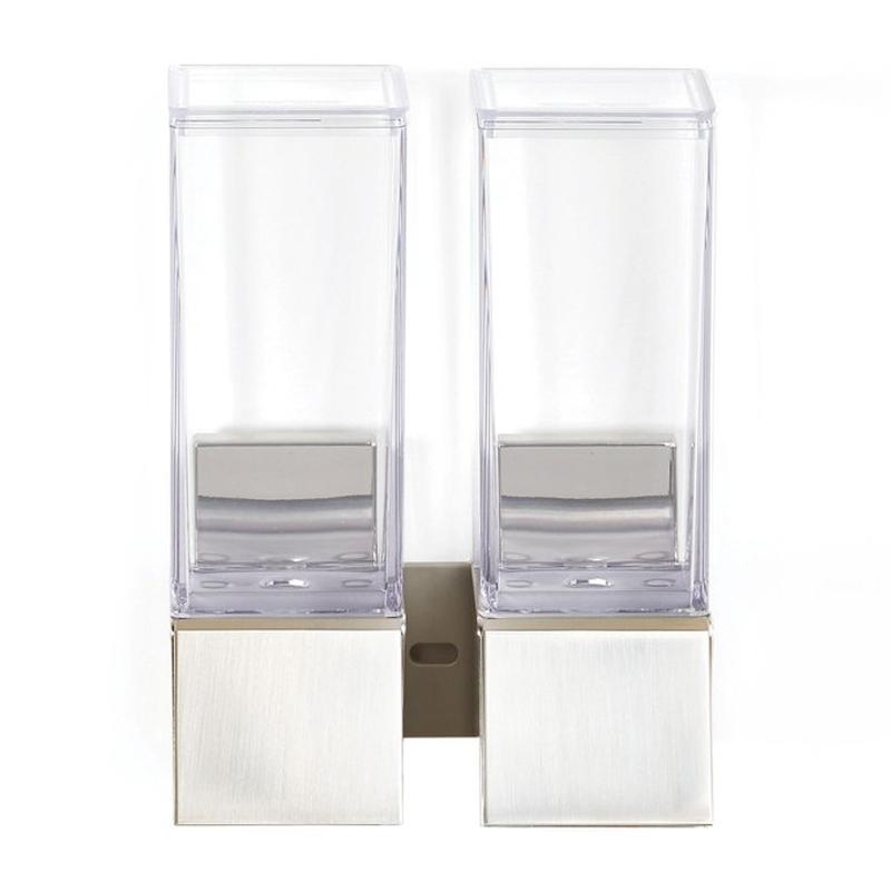 ソープディスペンサー 壁掛け 透明 ダブル 2個 各355mL フック付 シルバー シャンプー リンス コンディショナー ボディーソープ シャワージェル お風呂 浴室 Better Living Products 82269 Linea Luxury Shower Dispenser, Brushed Nickel
