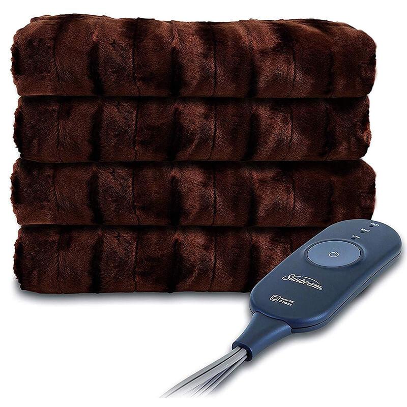 電気毛布 ヒートブランケット サンビーム Sunbeam Heated Throw Blanket | Faux Fur, 3 Heat Settings 家電