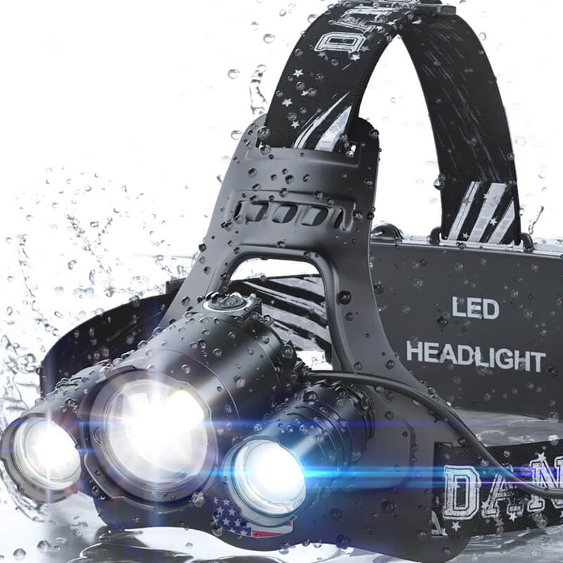 LEDヘッドライト 充電式 ヘッドランプ 1080ルーメン 防水 キャンプ アウトドア DanForce Brightest Headlamp Flashlight 2019 Version, 1080 Lumen Head Lamps Torch 3 CREE LEDs with Rechargeable Batteries