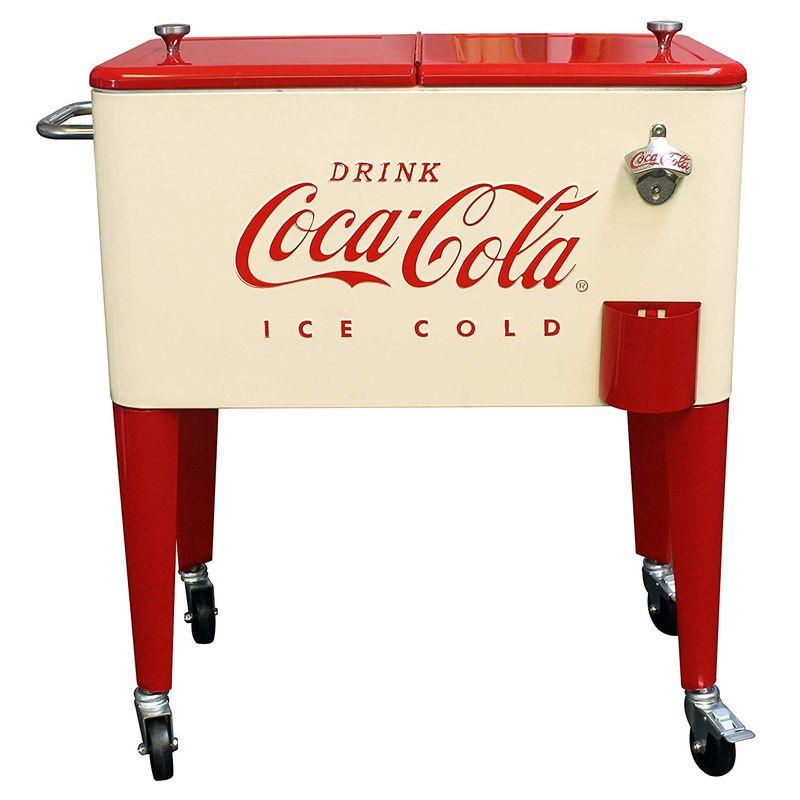 コカコーラ カート型 クーラーボックス キャスター付 オープナー付 クリーム レトロ Leigh Country CP 98111 Cream and Red 60 Qt. Coca-Cola Rolling Cooler, Cream & Red