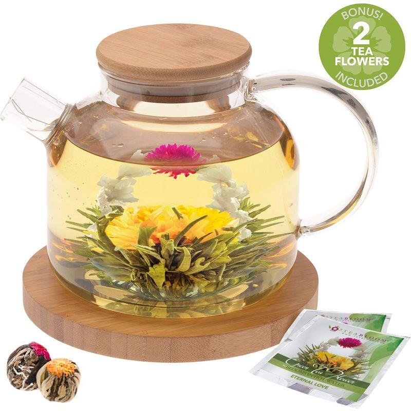 ガラス ティーポット 1.2L 竹 バンブー フタ コースター付 直火可能 ケトル やかん Teabloom Stovetop Safe Glass Teapot with Bamboo Lid (40oz/1200ml) + Loose Leaf Tea Filter Spout + 2 Blooming Teas + Large Bamboo Trivet/Coaster