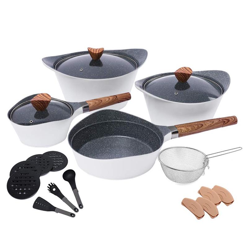 【送料無料】 鍋 フライパン 調理器具 19点セット アルミ IH対応 食洗機対応 PFOAフリー Nonstick Cookware Sets Dishwasher Safe Die Casting Aluminum Induction pots and pans set with Cooking Utensil Pack- 19 Piece