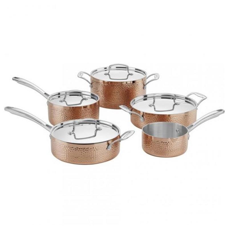 クイジナート フライパン 鍋 9点セット 槌目 ハンマー ステンレス コッパー カッパー 銅 アルミコア 3層 Cuisinart HCTP-9 Hammered Collection Cookware Set, Medium, Copper
