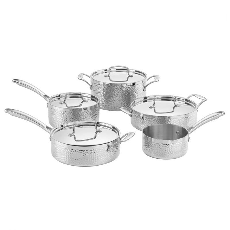 【送料無料】 クイジナート フライパン 鍋 9点セット IH対応 槌目 ハンマー ステンレス アルミコア 3層 Cuisinart HTP-9 Hammered Collection Cookware Set