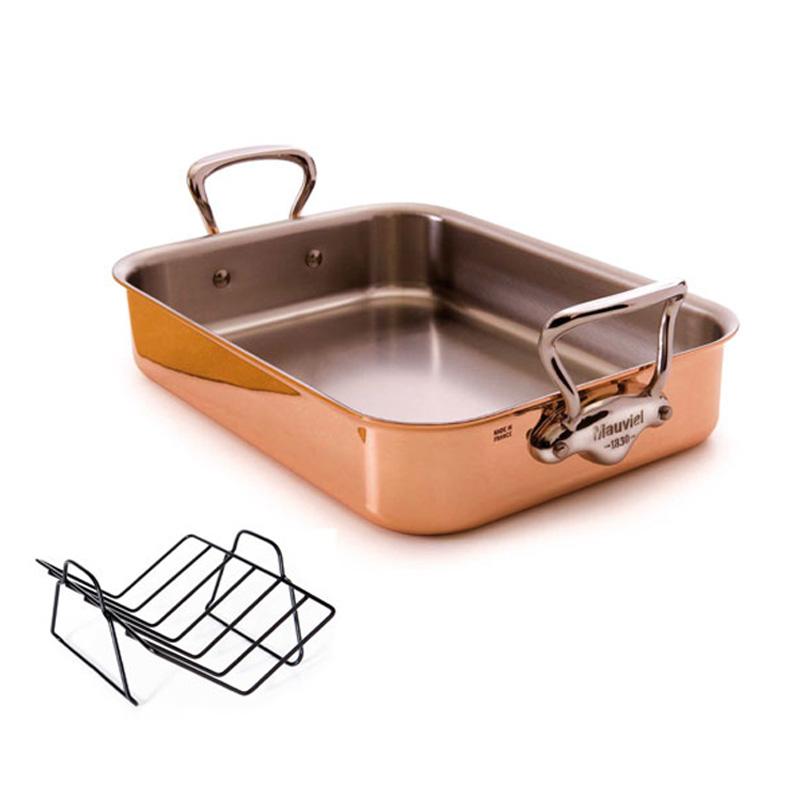 ロースター ローストパン 40x30cm 銅 1.5mm厚 3層 持ち手ステンレス ムビエル ムヴィエール モビエル モヴィエル モービル フランス Mauviel 1830 6017.40 M150S (Tri-ply) Rectangular roasting pan with rack