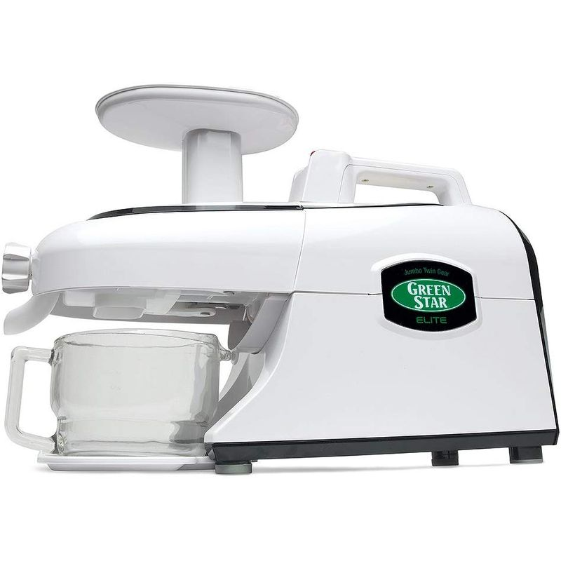 スロージューサー コールドプレス ツインギア Tribest GSE-5000 Greenstar Elite Cold Press Complete Masticating Juicer, Juice Extractor with Jumbo Twin Gears, White 家電