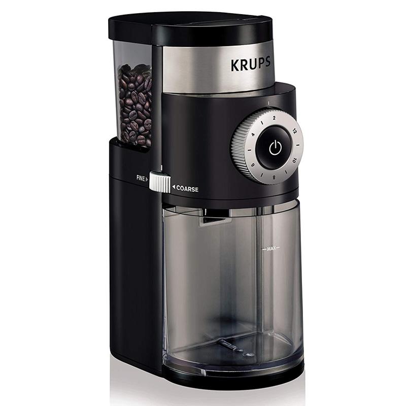 電動コーヒー豆挽き グラインダー ミル うす式 臼式 クラップス ブラック KRUPS GX5000 Burr Coffee Grinder, Electric Coffee Grinder with Grind Size and Cup Selection 家電