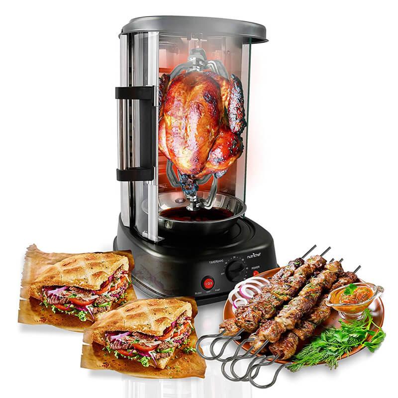 回転オーブン ロティサリー ケバブ チキン丸焼き 鶏 NutriChef Countertop Vertical Rotating Oven Rotisserie Shawarma Machine, PKRTVG34 家電