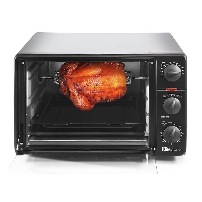 トースターオーブン ロティサリー チキン丸焼き 鶏 Elite Cuisine ERO-2008N Countertop Toaster Oven, 60-Min Timer 23L Black 家電