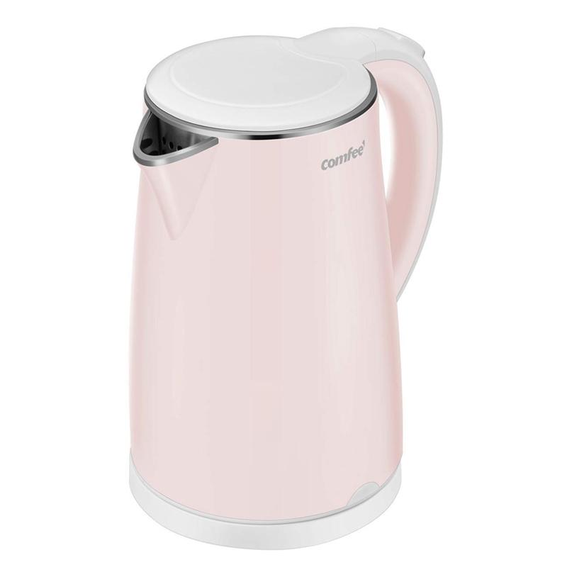 静かな 電気ケトル 1.7L BPAフリー さわっても熱くない 音が小さい COMFEE' MK-HJ1705A1 FF-0LEO-QIY5 Electric Kettle, 1.7L 家電