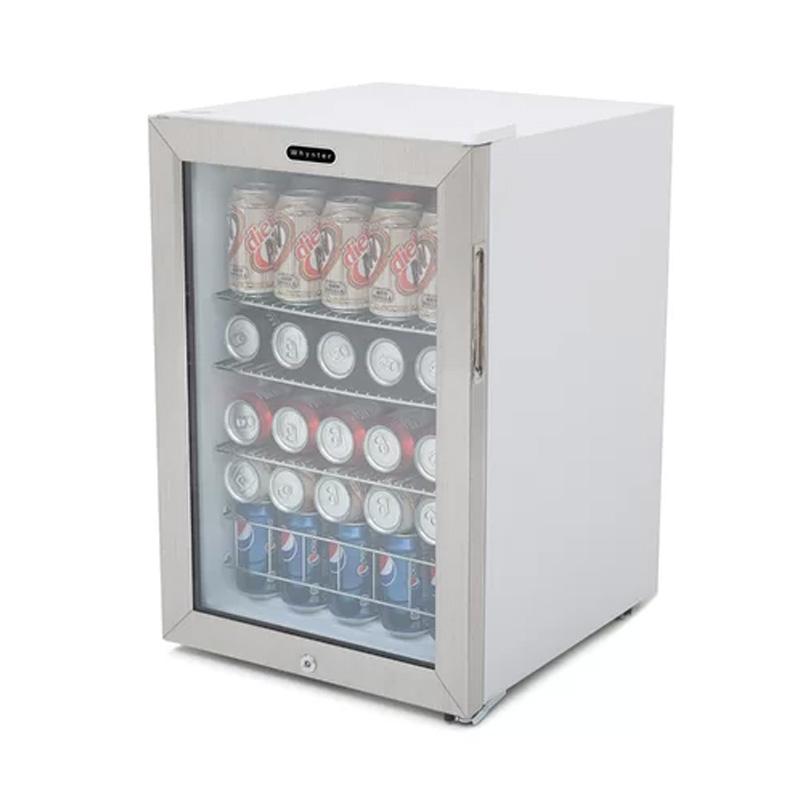 冷蔵庫 90缶 ワイヤーラック3段 ステンレス 鍵付き ホワイト Whynter BR-091WS, 90 Can Capacity Stainless Steel Beverage Refrigerator with Lock, White 家電