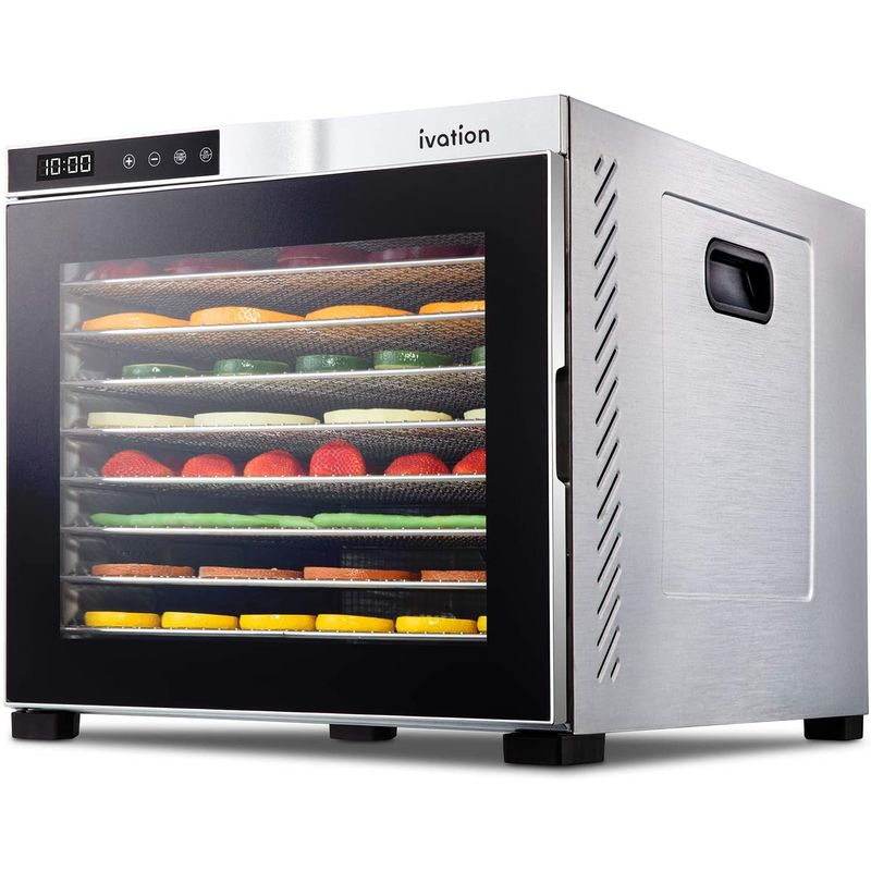 食品乾燥機 ディハイドレーター ステンレス 10段トレー 最大24時間タイマー ドライフルーツ ジャーキー Ivation 10 Tray Commercial Food Dehydrator Machine IV-FD100RSS 家電