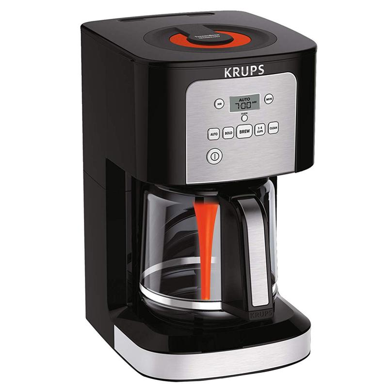 コーヒーメーカー 12カップ ガラスケトル タイマー付 クラップス ブラック KRUPS EC321 Coffee Machine, 12-Cup Programmable Coffee Maker, Professional Permanent Gold-Tone, Thermobrew Technology, Black 家電