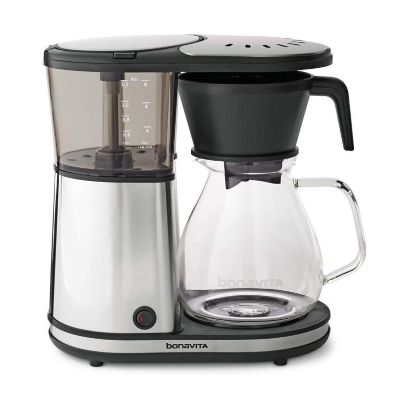 コーヒーメーカー ガラスカラフェ 8カップ ワンタッチ クロム BPAフリー ボナビータ Bonavita BV1901GW 8-Cup One-Touch Coffee Maker Featuring Glass Carafe and Warming Plate, 12.6 x 6.8 x 12.2 inches, chrome 家電