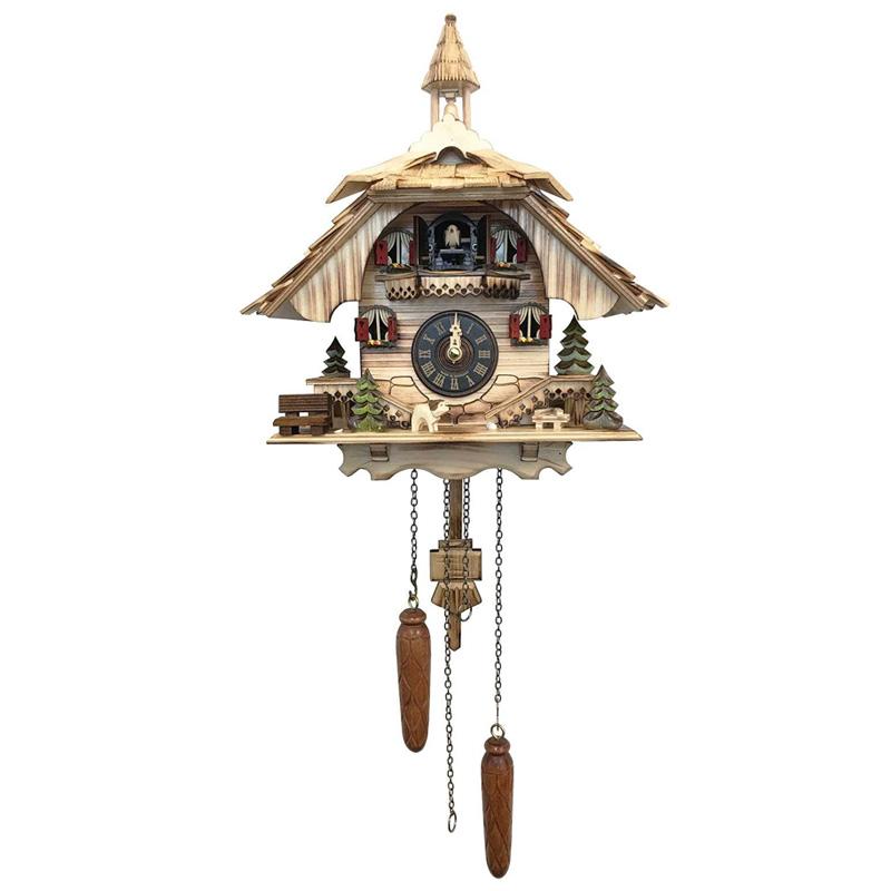 からくり時計 ドイツ製 鳩時計 カッコウ時計 コテージ 12曲 444-22QM - Engstler Battery-operated Cuckoo Clock - Full Size