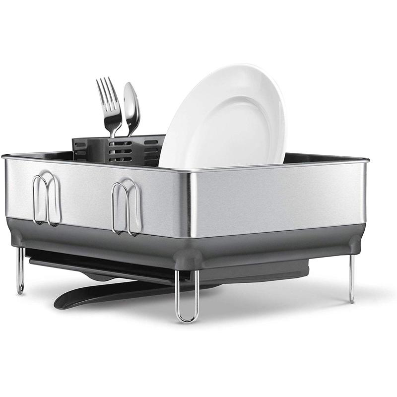 食器水切り ディッシュラック コンパクト 指紋防止 ステンレス コップ キッチン シンプルヒューマン simplehuman Kitchen Compact Steel Frame Dish Rack with Swivel Spout Fingerprint-Proof Stainless, Grey Plastic