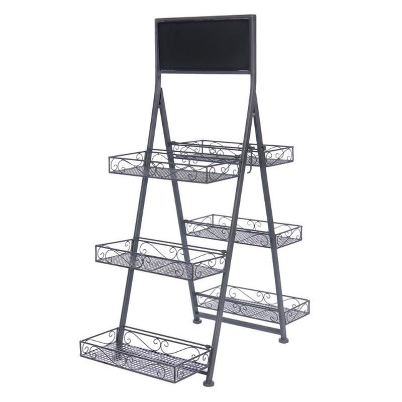 メタルトレイ ディスプレイスタンド 3段 黒板付 カフェ 雑貨 ショップ Metal 3 Tier Folding Step Ladder Tray Display with Chalkboard 95883829