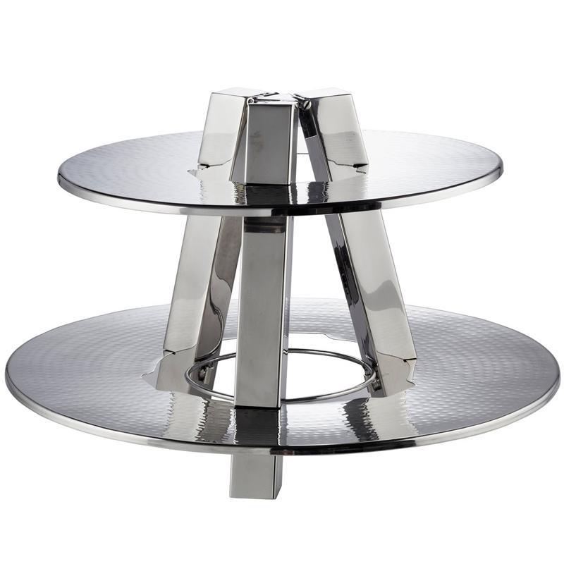 ディスプレイスタンド 丸型 2段 直径50cm ステンレス ハンマード 槌目 サービングトレイ カフェ レストラン バイキング ビュッフェ American Metalcraft DTS2013 2 Tier Display Stand - Hammered Stainless Steel 124DTS2013