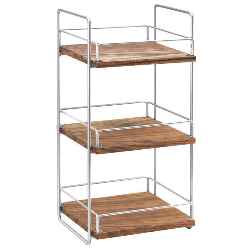 ディスプレイスタンド 角型 3段 クロム 木製プレート ライザー カフェ ショップ 雑貨 Cal-Mil 3704-3-49 Mid-Century Wood and Chrome Three Tier Merchandiser 2113704349