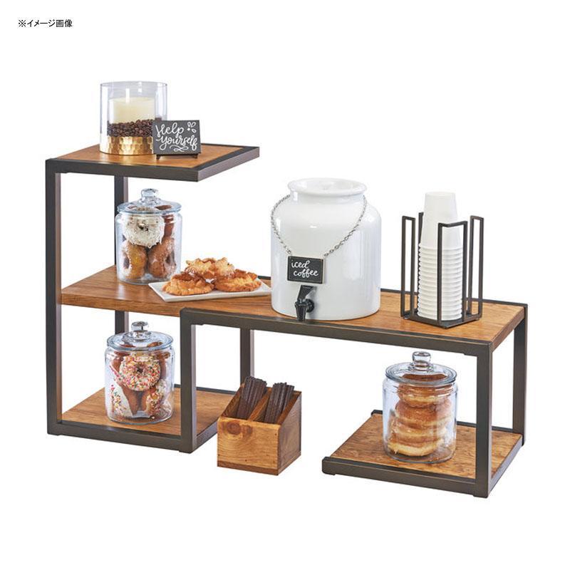 ディスプレイスタンド 棚 角型 3段 メタル 木製プレート パイン材 ライザー カフェ ショップ 雑貨 Cal-Mil 3903-84 Sierra Bronze Metal and Rustic Pine Riser Display System 211390384
