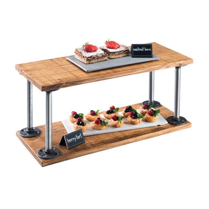 ディスプレイスタンド 角型 2段 木製プレート パイン材 ライザー カフェ レストラン バイキング ビュッフェ Cal-Mil 3473-99 Madera Rustic Pine 2 Shelf Riser 211347399