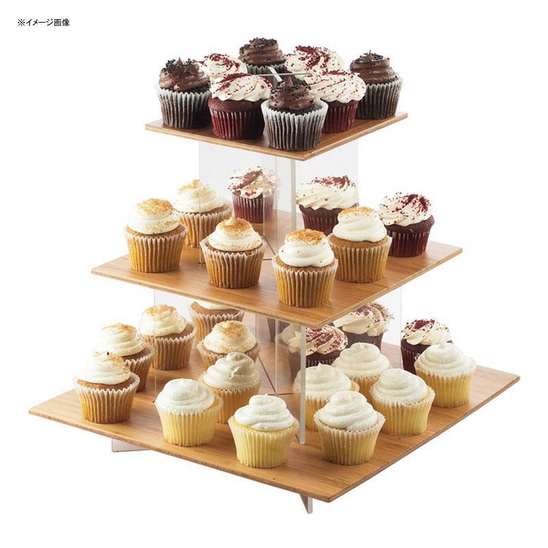 ディスプレイスタンド 角型 3段 アクリル バンブープレート 竹 ライザー カフェ レストラン バイキング ビュッフェ Cal-Mil 1318-60 Cupcake Display with Bamboo Shelves 211131860