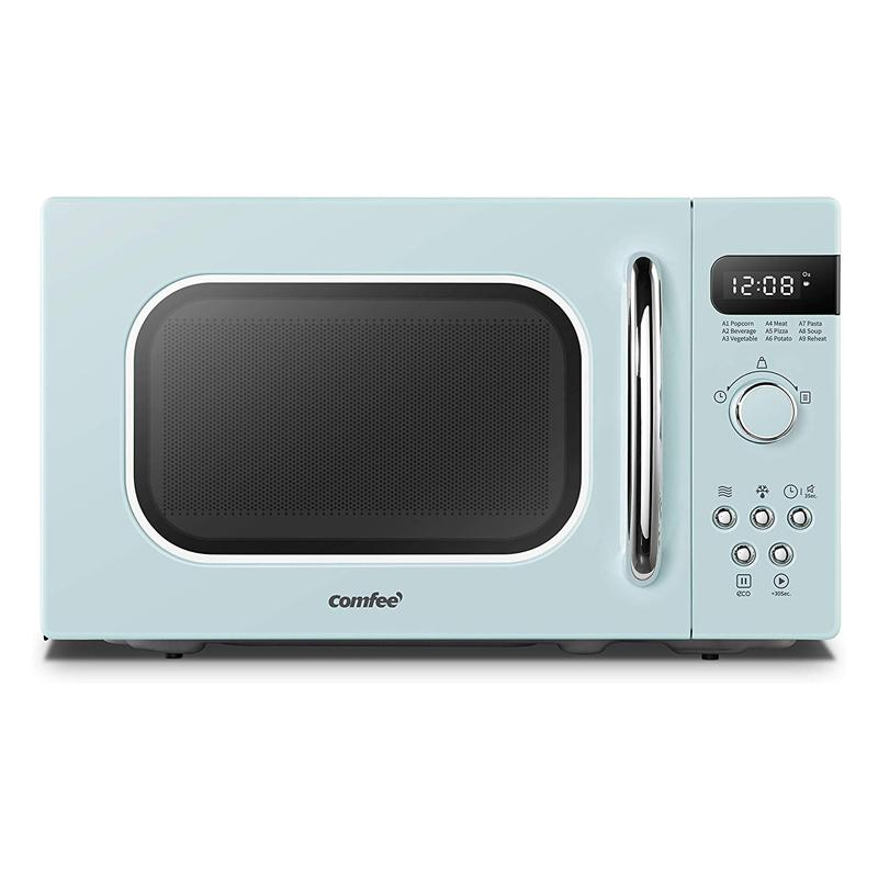 電子レンジ オートメニュー9種 レトロ COMFEE' AM720C2RA-G Retro Style Countertop Microwave Oven with 9 Auto Menus Position-Memory Turntable, Eco Mode, and Sound On/Off 0.7Cu.Ft 家電