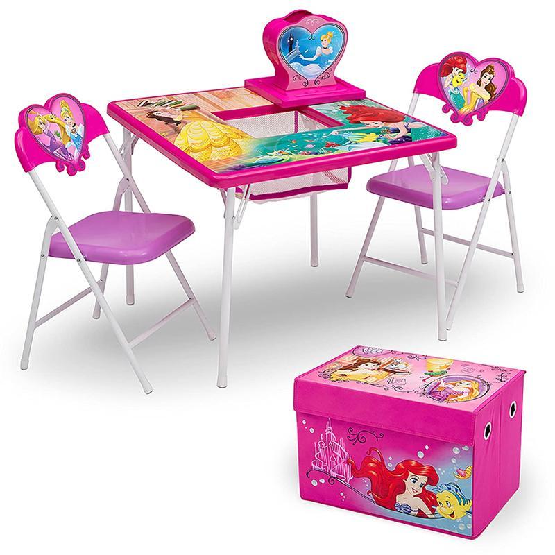 【30日間返金保証】【送料無料】 子供用 テーブル チェアー 収納付き ディズニープリンセス 椅子 幼児 Delta Children 4-Piece Kids Furniture Set (2 Chairs and Table Set  Fabric Toy Box), Disney Princess