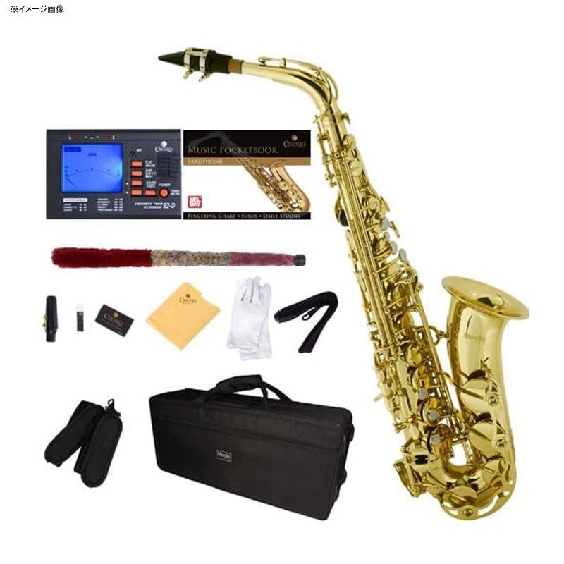 アルトサックス チューナー ケース付 Mendini by Cecilio E-Flat Alto Saxophone, Gold Lacquered + Tuner, Case, Pocketbook - MAS-L+92D+PB