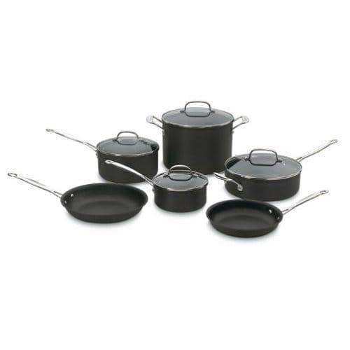 クイジナート フライパン 鍋 10点セット テフロン加工 フッ素樹脂Cuisinart Chef's Classic Nonstick Hard-Anodized 10-Piece Cookware Set 66-10