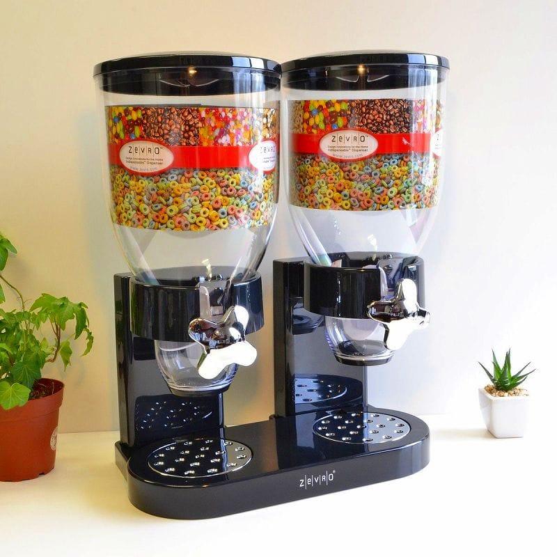 ゼブロ デュアルドライフードディスペンサー Zevro Dual Dry Food Dispenser, Black/Chrome