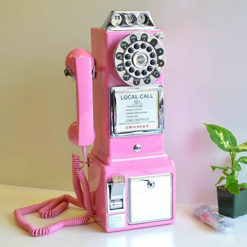 アメリカ 公衆電話 レトロ電話 クロスリー ピンクCrosley CR56-PI 1950's Pay Phone - Hot Pink
