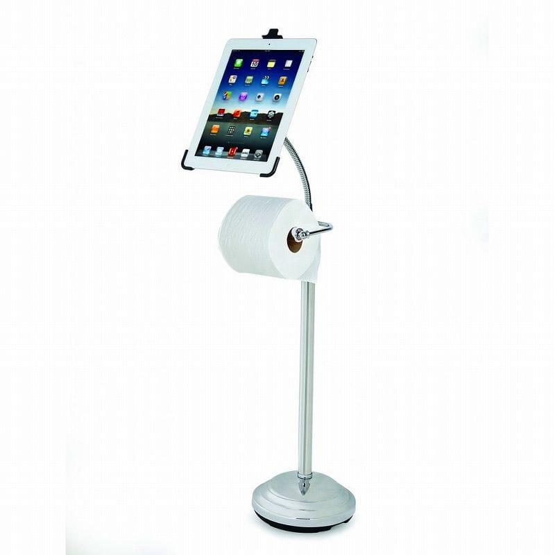 ipadとトイレットペーパースタンド Pedestal Stand for iPad 2/3/4 with Roll Holder