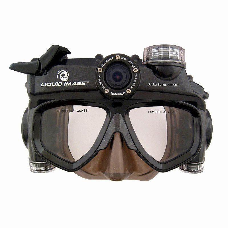 ダイビングマスク ワイドアングル スキューバシリーズ 防水 ハンズフリー ビデオカメラ Liquid Image XSC 318Wide Angle Scuba Series 12.0MP HD720P - Mid Size Skirt Waterproof Video Camera with 1-Inch LCD Screen (Charcoal)