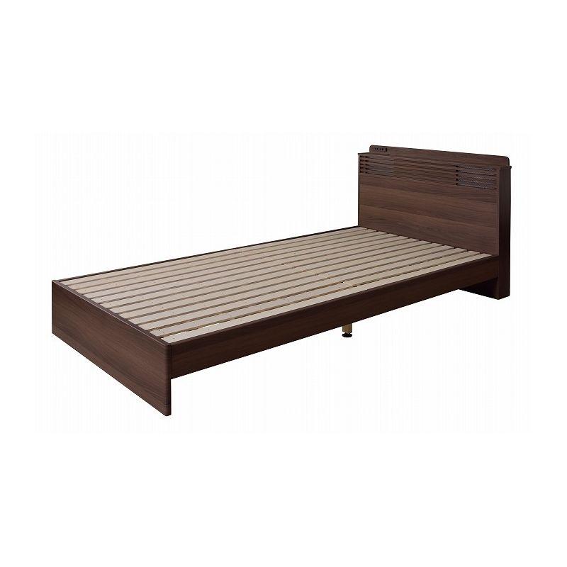 木製ベッドフレーム シングル LED照明&コンセント付