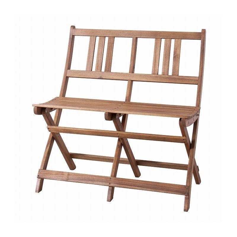 折りたたみベンチ 幅80cm アカシア 天然木 二人掛 ダイニングベンチ イス 椅子 カリフォルニア 西海岸