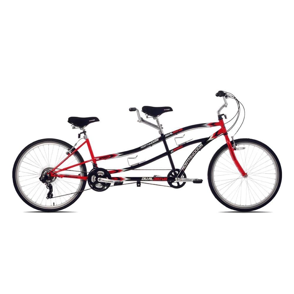 タンデム 自転車 二人乗り ケントノーストウッド 赤/黒 前輪26X後輪26インチ Kent Northwoods Dual Drive Tandem Bike 22648 (26-Inch Wheels), Red/Black【代引不可】【組立要】