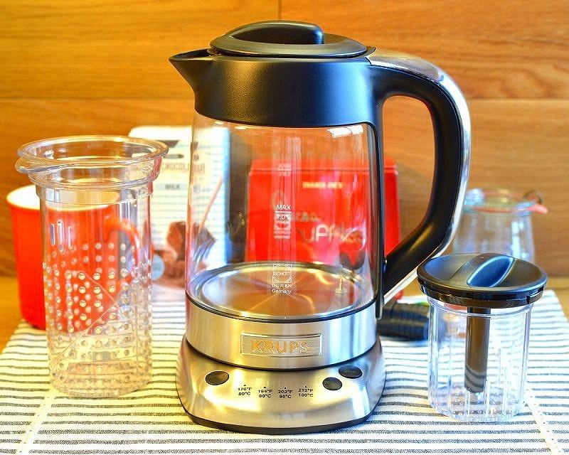 ドイツ クラップス 茶こし付 ガラス電気ケトル 温度計付 温度調節可能 保温機能付 電気ポットKrups FL700D51 Electric Kettle 家電