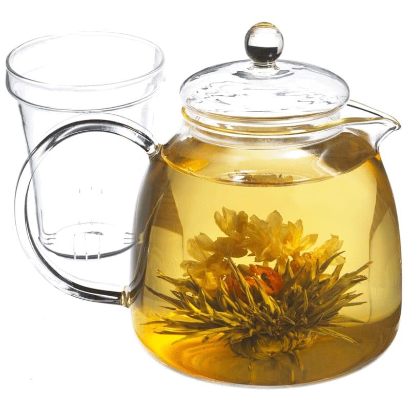 グロッシェ ティーポット&12ブルーミングティーギフトセット 花茶 1200ml Glass teapot and 12 premium blooming tea gift set