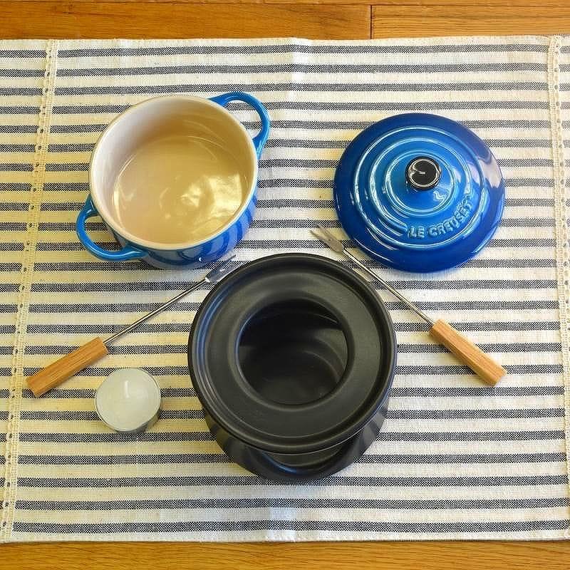 Le Creuset mini cocotte stoneware chocolate fondue set 0.25 L Le Creuset Stoneware Mini at Cocotte Fondue Set
