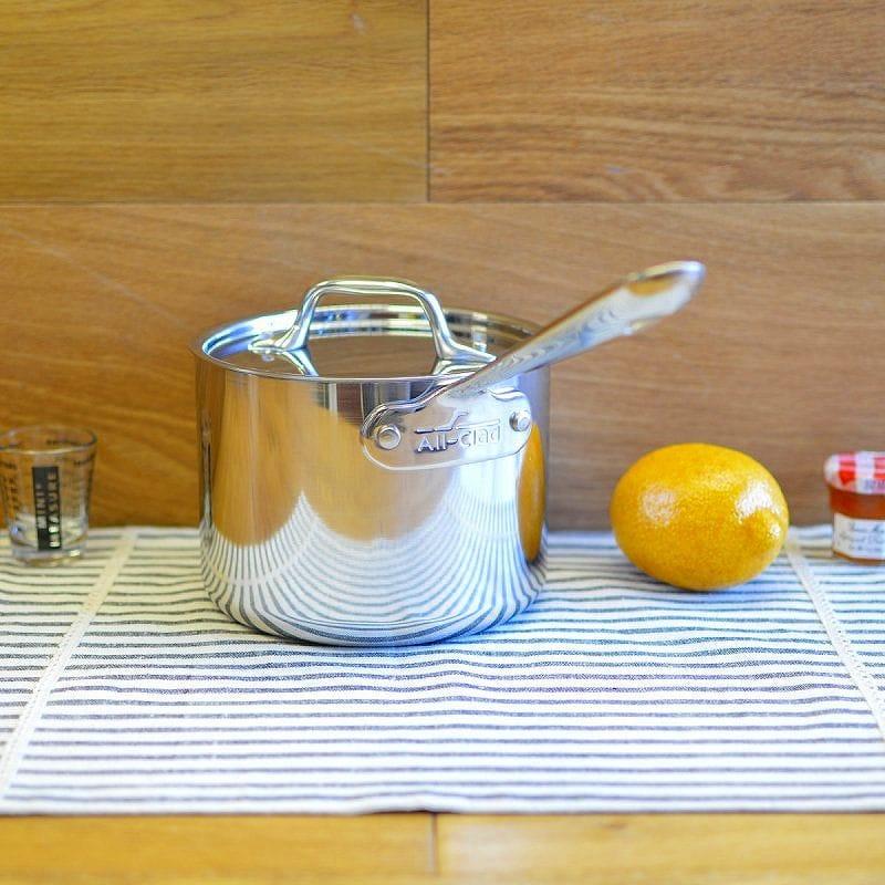 オールクラッド ステンレス鍋 蓋付深底鍋All-Clad Stainless Steel Sauce Pan with Lid 4202