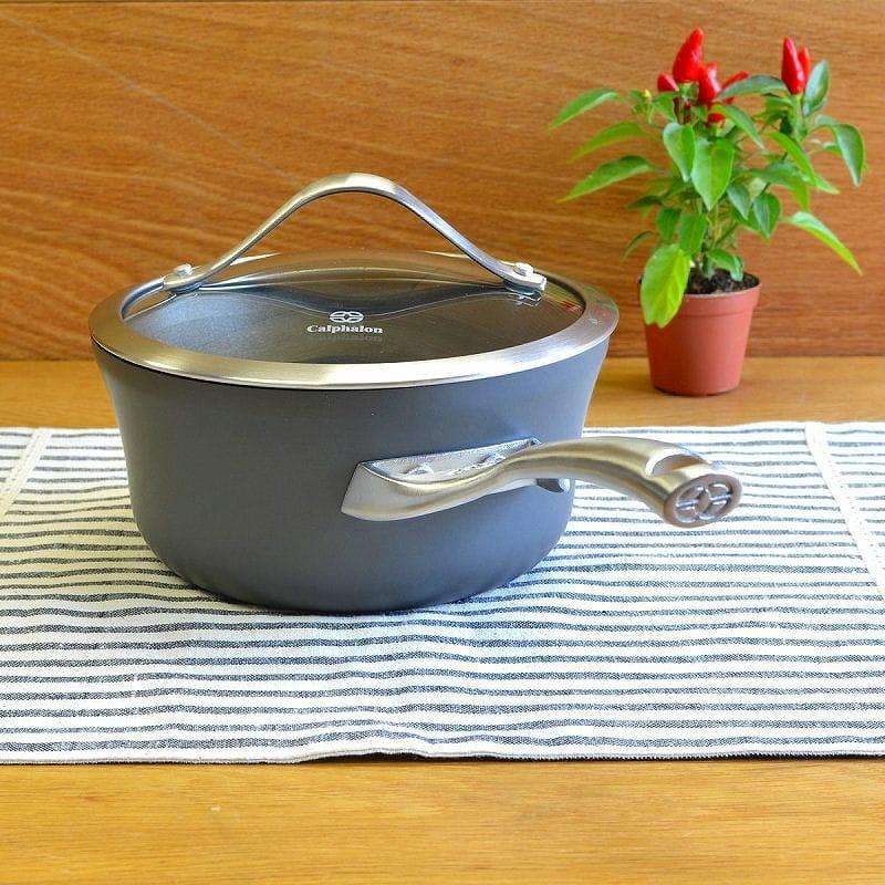 カルファロン 1.4L ノンスティック・ソースパン・フタ付片手鍋Calphalon Contemporary Nonstick Sauce Pan with Cover 1.5 Quart JR8701-2