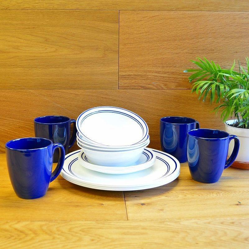 コレール ディナーウェア 4人用 20点セット クラシックカフェ ブルー 青 Corelle 20 Piece Livingware Dinnerware Set with Storage, Classic Café Blue, Service for 4