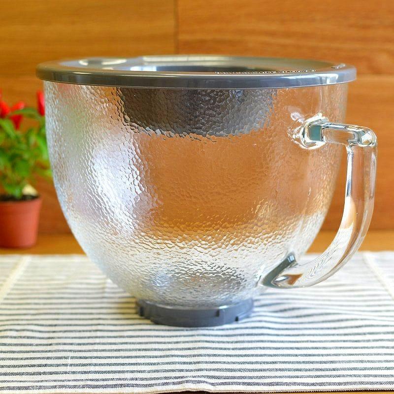 キッチンエイド 5クオート 4.8L チルトヘッドタイプ スタンドミキサー用 ガラスボウル でこぼこ型 模様付 KSM150に適合 KitchenAid 5Qt Tilt Head Glass Bowl K5GBH