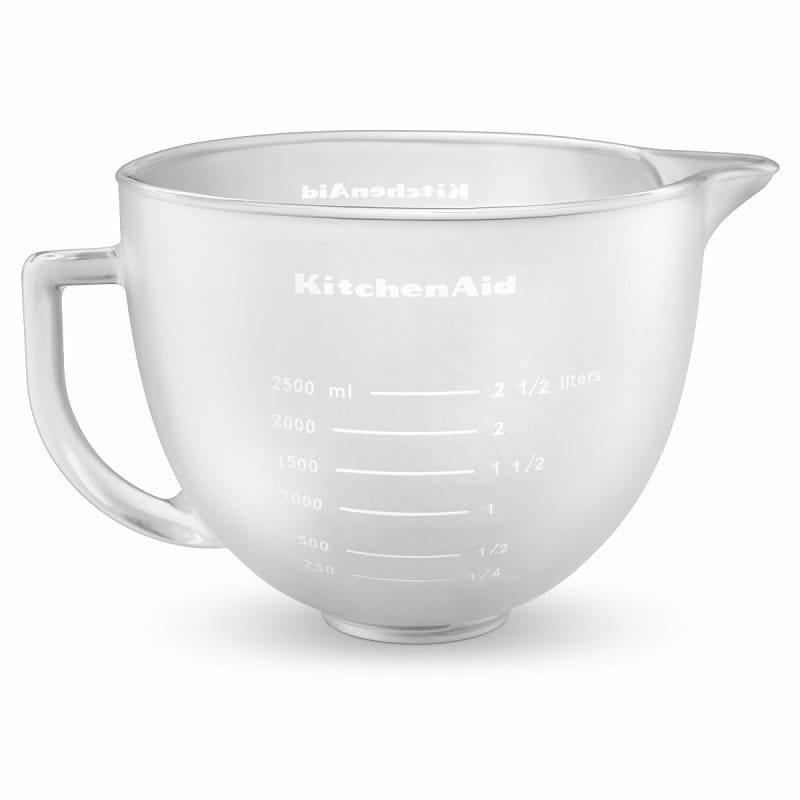キッチンエイド 5クオート 4.8L チルトヘッドタイプ スタンドミキサー用 スリガラスボウル KSM150に適合 KitchenAid K5GBF Frosted Glass Mixing Bowl with Lid 5 Quart