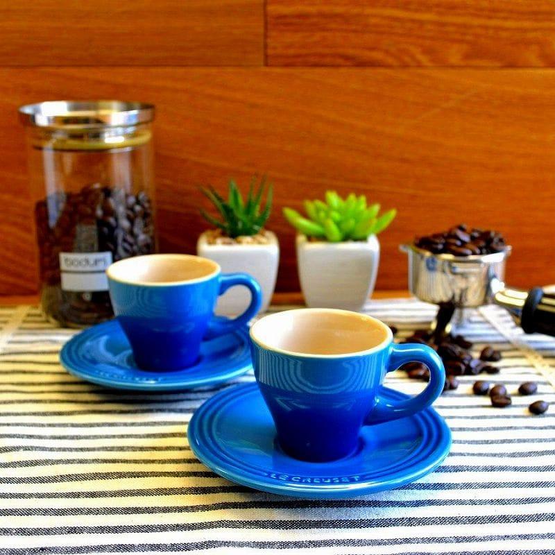 ル・クルーゼ エスプレッソ カップ&ソーサー 2客セット マルセイユブルーLe Creuset Set of 2 Espresso Cups and Saucers Marseille ルクルゼ ルクルーゼ コップ カップ